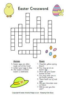 Easter crossword for kids