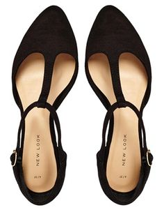 Black pointed toe strappy flats