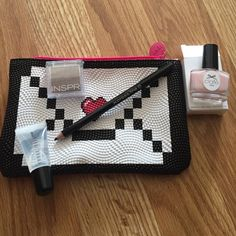 """Makeup/beauty bundle! Highly-pigmented eye shadow, Bobby Brown clear lip gloss black eyeliner and mini """"off my duty nude"""" nail polish along with a makeup bag! All new/ never used ✨ Makeup"""