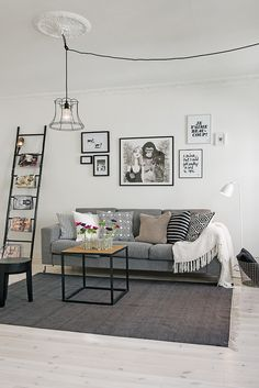 Black And White Frames Ladder Grey Sofa Clean