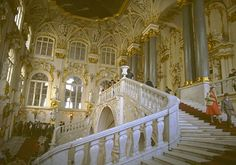 Jordan staircase inside Russian Royal Winter palace in St Petersburg, Russia