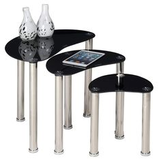 Nest Of 3 Glass Tables Set End Sofa Side Coffee Lamp Nesting Table Home Black