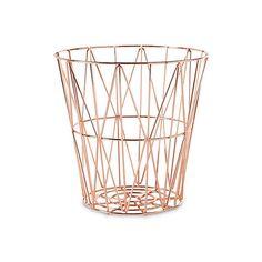 Diamond-Weave Storage Basket Storage Baskets featuring polyvore, home, home decor, small item storage, fillers, decor, interior, rose gold, contemporary home decor, diamond home decor and woven storage baskets