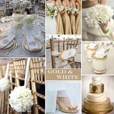 Gold and White Wedding Colors - For a formal or semi-formal wedding adding Gold with White creates a really gorgeous wedding palette.