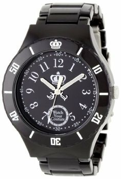 Juicy Couture Women's 1900814 Taylor Black Plastic Bracelet Watch Juicy Couture. $145.00. Stainless steel clasp. Arabic number markers; Chunky black plastic bracelet. Water-resistant to 99 feet (30 M). Black dial. Oversized black plastic case