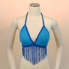 Blue Crochet Bikini Top - Silver Beaded Halter Tank Top - Hippie Festival Top Fringe
