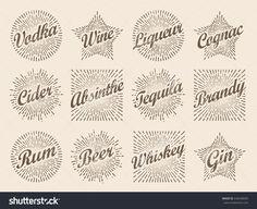 Retro design sunburst label, radiant starburst for vodka wine cider and alcohols. Vector super set art illustration