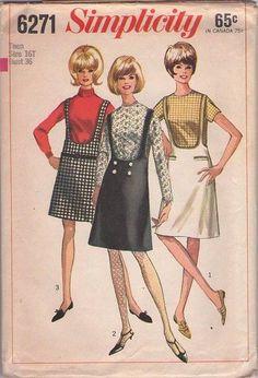 MOMSPatterns Vintage Sewing Patterns - Simplicity 6271 Vintage 60's Sewing Pattern DANDY Mod Twiggy Scooped U Neck Suspender Skirt, Jumper, Back Zippered Blouse, Top