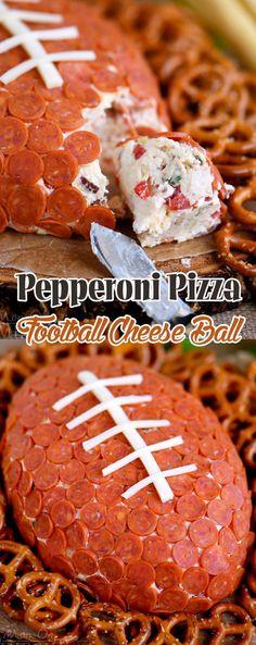 Pepperoni Pizza Football Cheese Ball                              …