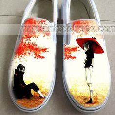 Anime Naruto Uchiha Sasuke Hand Painted Slip-on Shoes,Low-top Painted Canvas Shoes