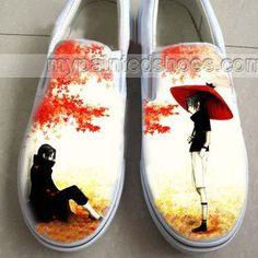 Anime Naruto Uchiha Sasuke Hand Painted Slip-on Shoes,Low-top Painted Canvas Shoes