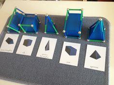 Inès travaille avec les solideset le vocabulaire arête/sommet. Nous avons utilisé des Géomag, les boules représentent les sommets et les barres les arêtes. Un jeu d'enfant pour assimiler ces notio... Preschool At Home, Preschool Kindergarten, Teaching Math, Montessori Classroom, Montessori Activities, Math Figures, Free Printable Numbers, Montessori Practical Life, Math Projects
