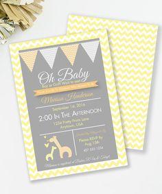 Giraffe Invitation, Giraffe Baby Shower, Safari Baby Shower, Printable Invite, Gender Neutral baby shower, Yellow and Orange,