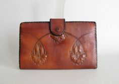 1930s Meeker tooled leather clutch
