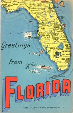 Florida State Map Vintage Greetings Postcard Sunshine State 1954 Teacher Classroom