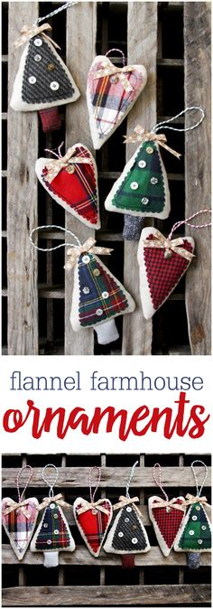 These cute simple flannel farmhouse ornaments sew up so fast so they're great to make up for your tree or as decorations for gifts!