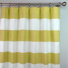 Saffron Yellow White Horizontal Stripe Cabana Curtains Rod