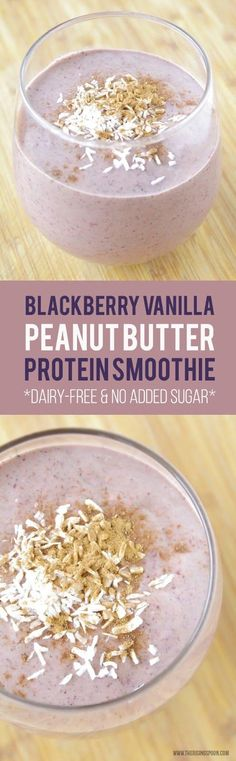 Healthy Blackberry Peanut Butter Protein Smoothie | Dairy-Free | No Added Sugar | Real Food Recipes | (Note: To  make this Whole30 approved, use a clean protein powder & sub almond butter.)