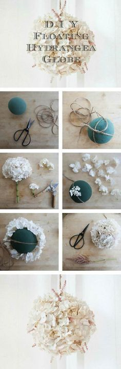 Floating Hydrangea Globes - DIY Tutorial: Tutorial: Rustic Wedding Chic I love the idea of these hanging flower balls, but I would add much more greenery, which hangs as though from a hanging basket, with the flowers to copy my bouquet