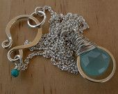 Chalcedony Wrapped Hoop Necklace www.taliaserinese.etsy.com