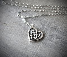 Silver Celtic Heart Necklace  Celtic Knot Heart by PrairieCoastArt, $38.00