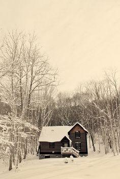 snowy winter cottage.