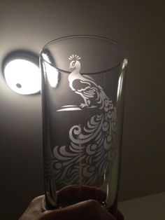 Stencil Peacock etched pint (16oz) glass (Homemade fan art)