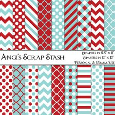 Red and Aqua Patterns, Digital Scrapbooking Paper Pack, BUY 2 GET 1 FREE (086). $2.99, via Etsy.