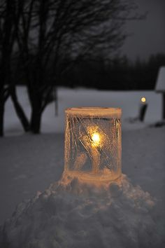 I would love these ice candle holders Winter Scenery, Winter Fun, Winter Time, Winter Christmas, Winter Light, Snow And Ice, Fire And Ice, Ice Sculptures, Winter Beauty