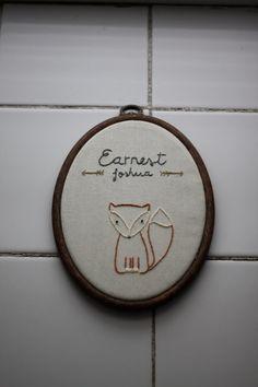 Fox Embroidery Hoop Art, Nursery Wall Art