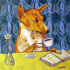 Basset Hound dog art PRINT raiding the refrigerator 13x19  JSCHMETZ