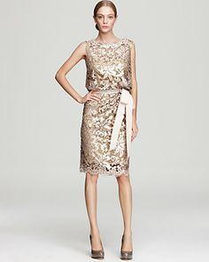 Tadashi Shoji Dress - Sleeveless Lace and Sequin   Bloomingdale's $348