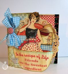 Cute Retro Apron Lady Card by Kathy Clement using Crafty Secrets New Retro Kitchen Digital Kit. You can see several photos including the inside of the card and custom matching envelope she created. Many fun embellishments like the glitter added to the dress and apron, UTEE used on the printable bowl so it could bend and more.  Links included to download kit and a mail order kit.