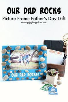 Are you looking for a fun gift that you and the kids can make for dad?  This Our Dad Rocks Picture Frame Father's Day Gift is the perfect gift to craft and give to the special dad in your life.  This simple enough that the kids can help, it takes less than 10 minutes and cost less than $10! #fathersday #giftidea #diygift #diyfathersdaygift #diy