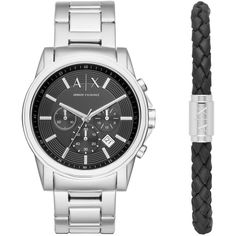Armani Exchange Outerbanks Stainless Steel H-Bracelet Watch and... ($200) ❤ liked on Polyvore featuring jewelry, watches, silver, stainless steel watches, macrame bracelet, watch bracelet, leather wrist watch and braided bracelet