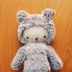 Kawaii Teddy Bear Plushie Speckled Brown and White by bijoukitty https://www.etsy.com/listing/159649091/kawaii-teddy-bear-plushie-speckled-brown?ref=favs_view_4
