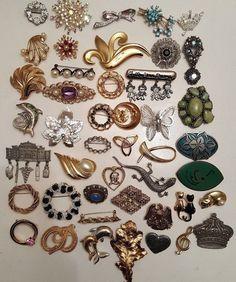 45 Vintage & Modern Brooch Lot RHINESTONE Christian Dior Coro Crown Trifari JJ #vintage #jewelry #ebay
