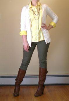 Bashful Fashionista | OOTD: Olive Skinnies and Yellow Gingham