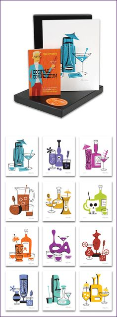 """SHAG the store — """"Cocktail Collection"""" Set of 12 Unframed Prints & Recipe Book"""