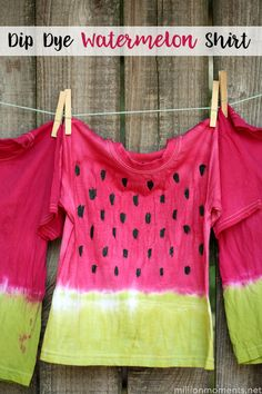 Have fun in the sun by dyeing shirts! These dip dye watermelon shirts are an easy DIY project to do with your children. Craft Activities For Kids, Crafts For Kids, Summer Crafts, Summer Fun, Watermelon Festival, Ty Dye, Tie Dye Crafts, Dye Shirt, School