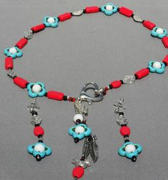 Turquoise OOAK silver coral white black fetish Native by ElmsRealm, $30.00