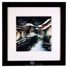 "13""*13""hand-drawnn Chinese Painting Landscape Winter village scenery ancient painting technique wooden framed wonderful Art 2 white mats Ready to hang-Overseamall"