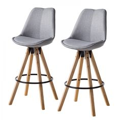 Chaise de bar Aledas II (lot de 2) - Tissu / Caoutchouc massif - Granit