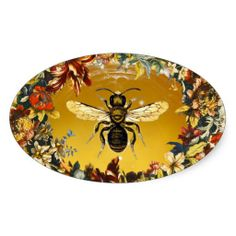 SPRING FLOWERS HONEY BEE / BEEKEEPER BEEKEEPING STICKERS,Elegant and classy vintage style floral apiarist design with colorful flower crown easily customizable for your business.