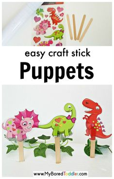 Make your own craft stick dinosaur puppets - My Bored Toddler Summer Crafts For Toddlers, Crafts For 3 Year Olds, Fun Activities For Toddlers, Crafts For Kids To Make, Toddler Crafts, Learning Activities, Dinosaur Puppet, Dinosaur Activities, Dinosaur Crafts