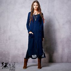 New Ethnic Tie-dyed Patchwork Trench Coat Vintage V-neck Long Sleeve Irregular…