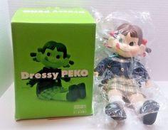 Dressy Peko Doll Blue Jacket Gold Tone Buttons Peko Chan with Box, Collectible #Fujiya #Doll