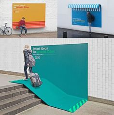 """Smarter Cities"" is a new project by IBM to improve the life in cities, focusing on sustainable economic growth and prosperity of citizens. To spread its existence, the creative campaign was created in the streets, in which the posters not only advertise, but also fulfill functions: they serve as seats, ceilings or ramps. (2013)"