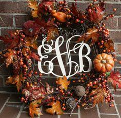 Wooden Monogram in Fall Wreath