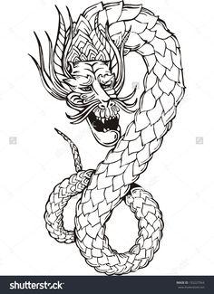 Oriental legless dragon. Black and white vector illustration.